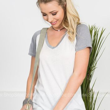 Easy Breezy Top | White & Grey