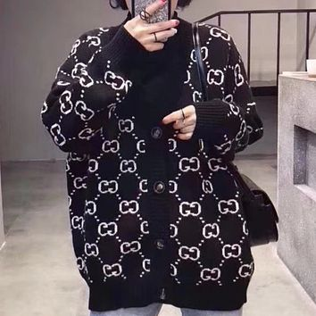 GUCCI spring new double G letter sweater women's cardigan F0462-1 Black