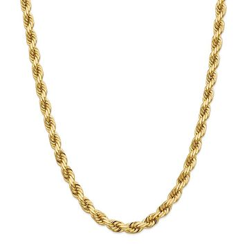 Men's 8mm, 14k Yellow Gold, Diamond Cut Solid Rope Chain Necklace