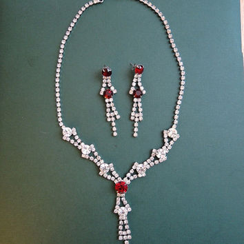 Vintage Rhinestone & Ruby Glass Necklace and Earrings Set, Pierced, Vintage Costume Jewelry 1950s 1960s