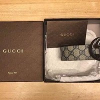 Brand New Gucci Interlocking GG Beige/Blue Men's Belt 110cm W/ Receipt And Box