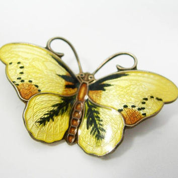 "Norway Enameled Sterling Butterfly Brooch - Hroar Prydz Butterfly Pin - Vintage Yellow Butterfly - Brown and Black Accent Colors - 1.5"" Wide"