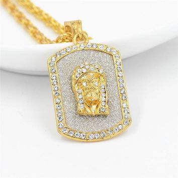 Iced-Out Gold Dog Tag Jesus Piece Pendant and Chain
