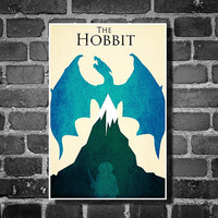 Lord of the Rings movie poster minimalist poster geekery art hobbit print the hobbit blue home decor