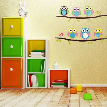 Owl Wall Stickers For Kids Rooms DIY Vinyl Removable Wall Sticker Baby Boy Girl Room Decor Nursery Animal Cartoon Art Decals