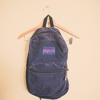 Vintage 90's Jansport Navy Blue Cordoroy  Zipper Back Pack  RuckSack Hiking Seattle Style Portland Style Student