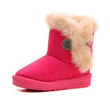 2017 KIDS Winter Fashion child girls snow boots shoes warm plush soft bottom baby girls boots winter snow boot for baby