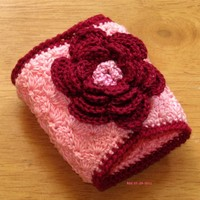 Burgundy Rose on Pink Napkin Rings - Irish Crochet Decor by RSS Designs In Fiber