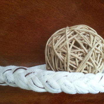 Lace and Cream Knit Headband with Leather Rope Accents - Braided Bohemian Style Hair band