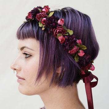 Pink Rose & Aubergine Flower Crown, Homecoming, Fall Fashion, Floral Crown, Rose Crown, Floral Headband, Purple, Hair Wreath, Circlet, Crown