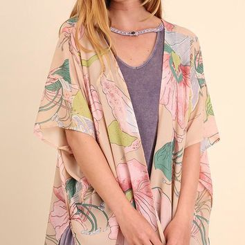 Tan Floral Print Sheer Kimono (final sale)