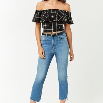 Grid Print Ruffle Crop Top