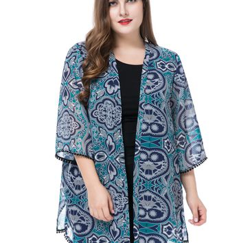 Chicwe Women's Plus Size Floral Printed Chiffon Cardigan Jacket Kimono Kaftan Style with Trim Cuff & Hem US16-26