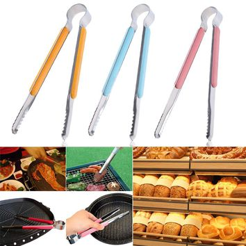 Stainless Steel Cooking Kitchen Tongs Food Utensil BBQ Salad Bacon Steak Bread Clip Clamp Tools for Barbecue Baking