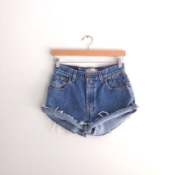 Studded Vintage Levis High Waisted Denim Shorts Size Small