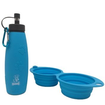 Mr. Peanut's Pet Feeder 2 in 1 Travel Set with 12oz Dual Sided Collapsible Bowl and 20oz Water Bottle