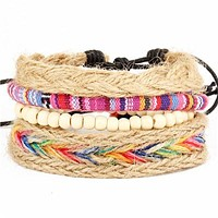 Hemp Wrap Feather Leather Bracelets Men or Women