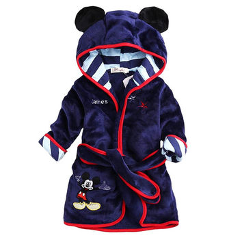 Hot Sale Children Hooded Bathrobe Towel Baby Boys Girls Flannel Lovely Cartoon Animal Robes Dressing Gown Kids Home Clothing