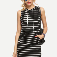 Black White Striped Sleeveless Hooded Dress [6221043716]