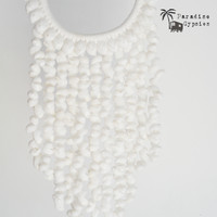 Multi Layer Round White Hanging Shell Necklace