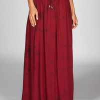 Full Tilt 2 Tone Wash Maxi Skirt Dark Red  In Sizes