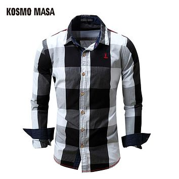 Cotton Turn-down Collar Strip Shirt For Men Spring Summer Casual Flannel Plaid Men's Full Sleeve Shirts