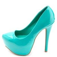 Almond Toe Mega Platform Pumps by Charlotte Russe - Teal