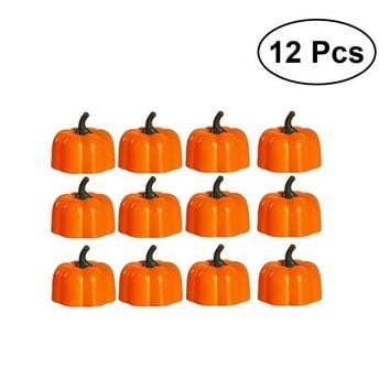 12pcs Halloween Pumpkin Light Yellow Flickering Led Tea Light Flameless Candle Battery-Operated Electronic Candles