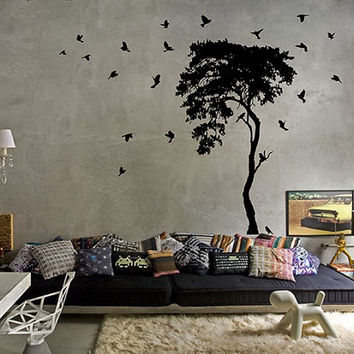 kik10 Wall Decal Sticker beautiful bird tree living room bedroom