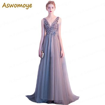 2018 New Stylish Long Evening Dress Sexy V-Neck Party Dresses Beading Open Back A Line Luxury Formal Prom Dress robe de soiree