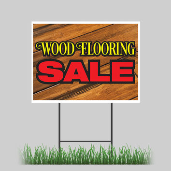 "18""x24"" Wood Flooring Sale Yard Sign Floor Home Office Dark Light Retail Store Sign"