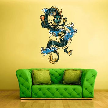 Full Color Wall Decal Mural Sticker Art Asian Japaneese Japan Dragon Ethnic (col201)
