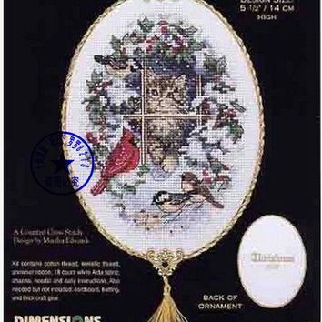 Top Quality Lovely Counted Cross Stitch Kit Snowed In Kitten Cat Bird Robbin Ornament Christmas Tree Ornaments Dim 08627