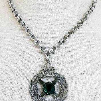 RePurposed Medallion Heraldic Green Rhinestone Order Medal Silver Tone Necklace Big Crown Wreath