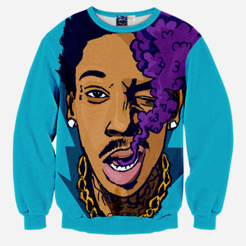 Wiz Khalifa All Over Print Purple Smoke Sky Blue Crew Neck Sweatshirt