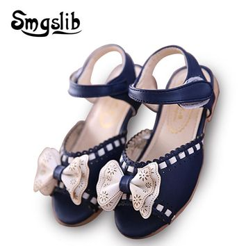 Little Girls sandals Summer Kids Shoes Bowknot PU Leather Soft Flat Shoe Sole Baby sandals girls 2016 Toddlers Children Shoe
