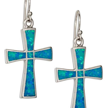 Synthetic Blue Opal Cross Earrings