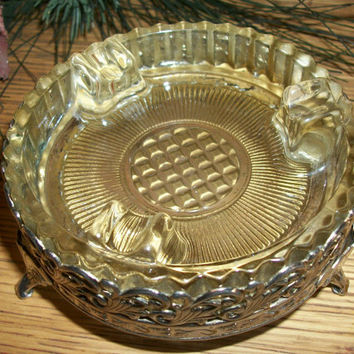 Antique 1930's Glass Ashtray Silver Plated Footed Dish Ornate Art Deco Hollywood Recency Tobacciana Trinket Dish Home Decor
