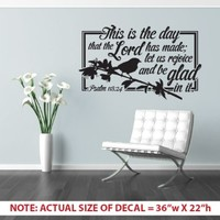 """This Is the Day That the Lord Has Made"" Psalm 118:24 - LARGE - Bible Verse Wall Décor Sticker - Cut Vinyl Decal - 36x22"