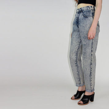 vtg 80s acid wash mom jeans high waisted pants stone wash Levi's skinny jeans mom jean small MEDIUM MED M