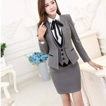 Professional Business Suits 3 pieces Jackets + Skirt + Vest