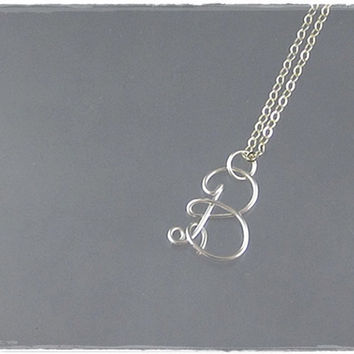 FREE SHIPPING!!!  Initial B Wire Word Pendant Necklace Cursive