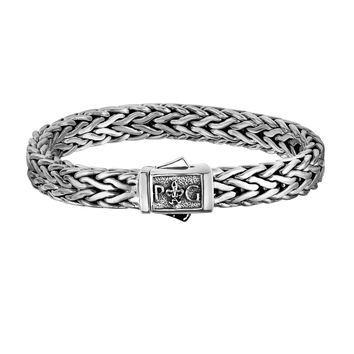 """Sterling Silver With Rhodium Finish Square Weave Mens Bracelet, 8.25"""""""
