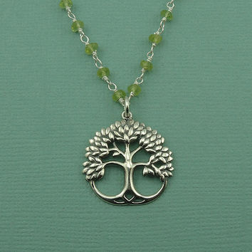 Peridot Beaded Gemstone Tree Necklace - sterling silver Tree of Life necklace - gemstone peridot jewelry