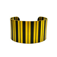 Art Deco Jewellery, Brass Cuff Bracelet, Modern Abstract Jewellery, Circle Jewellery, Black Striped Bracelet