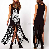 Plus Size women summer dress 2015 Tassel Long Dress Cotton Casual Punk maxi Dress Sleeveless Straight Hand Print club Dresses