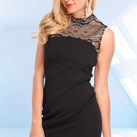 Black Sleeveless Dress with Black Gold Lace Detail