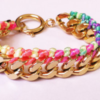 Chunky Arm Candy Neon Rainbow 14k Gold Plated Diamond Cut Chain Friendship Bracelet
