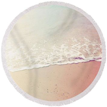 Ocean Air, Salty Hair, Watercolor Art By Adam Asar - Asar Studios - Round Beach Towel