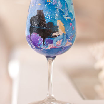 Musical Mermaids Hand Painted Wine Glass: Ocean Themed Music Glass